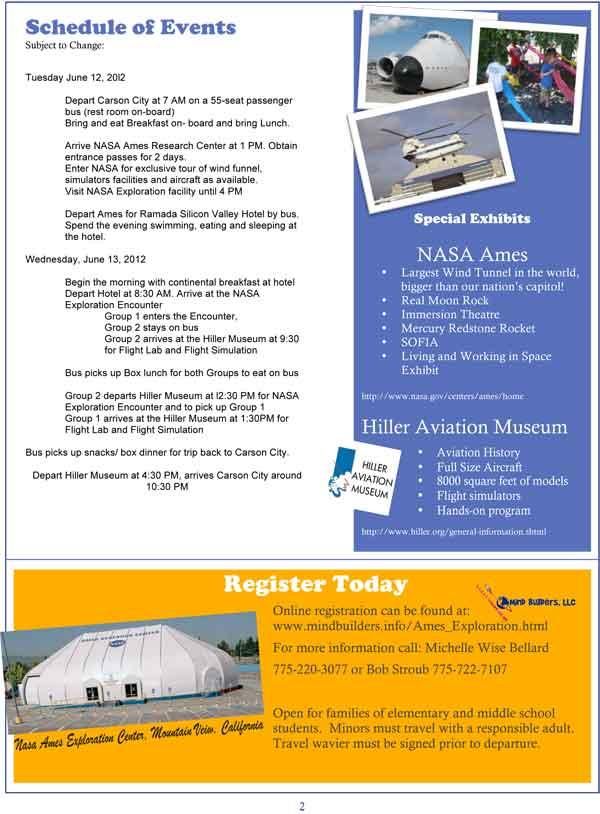 NASA Ames Exploration Trip Flyer, page 2