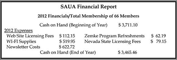 SAUA Financial Report Winter 2013