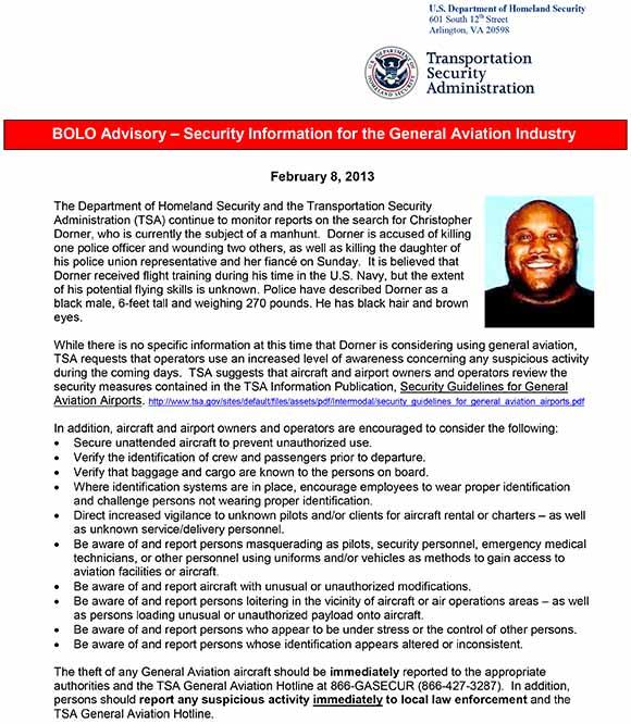 TSA Alert for General Aviation