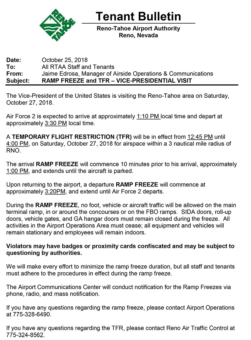 KRNO Ramp Freeze/TFR AND KCXP TFR and Airport Closure - Saturday Oct